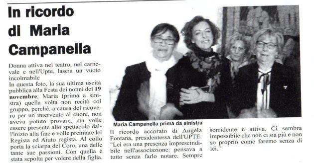 Ricordo di Maria Campanella su Il Giornale del 30 dicembre 2017