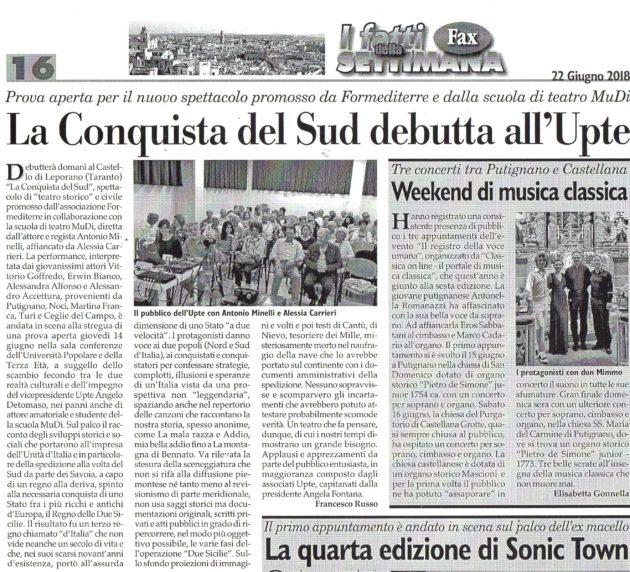 La Conquista del Sud su Fax del 23 giugno 2018