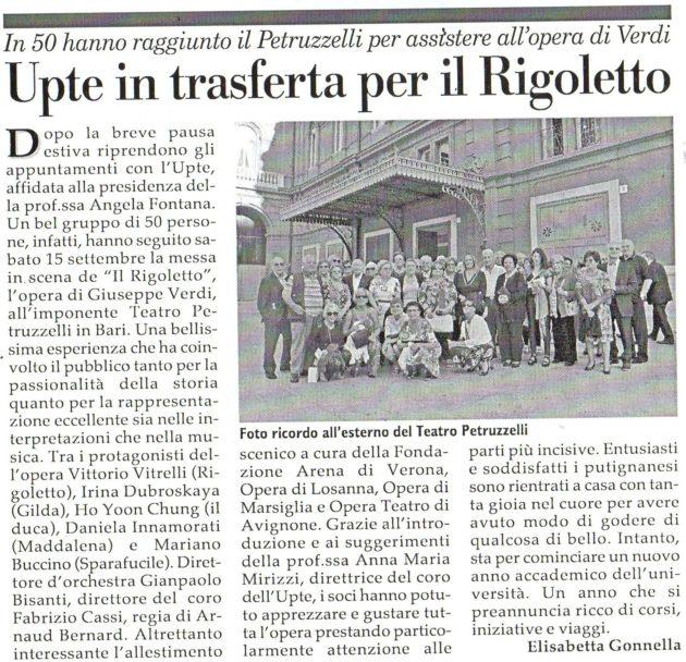 Petruzzelli per assistere al Rigoletto