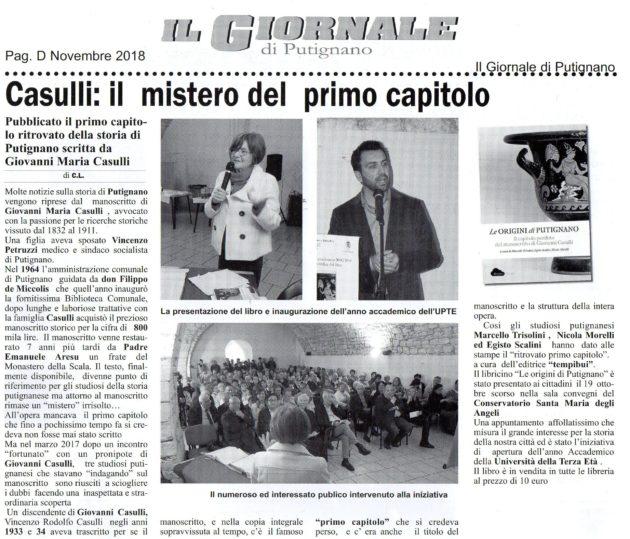 Le origini di Putignano su Il Giornale del 27 ottobre 2018