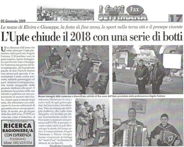 Eventi fine anno su Fax del 5 gennaio 2019