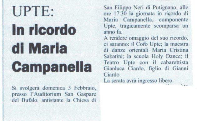 Ricordo di Maria Campanella su Il Giornale del 19 gennaio 2019