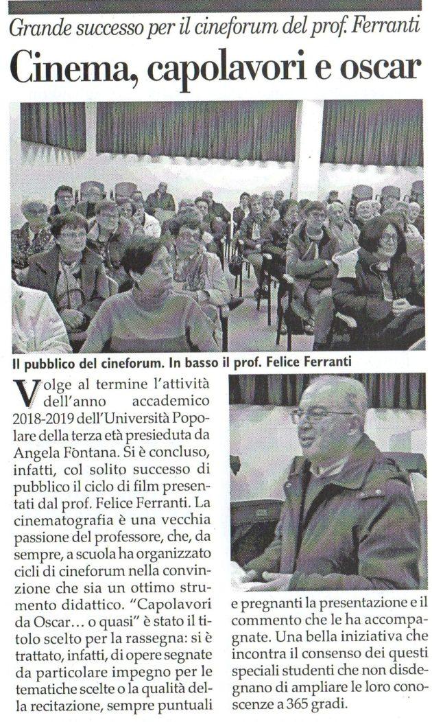Felice Ferranti su Fax del 13 aprile 2019