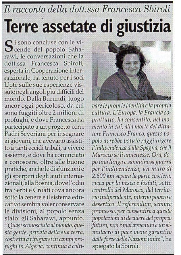 Francesca Sbiroli su Fax del 20 aprile 2019