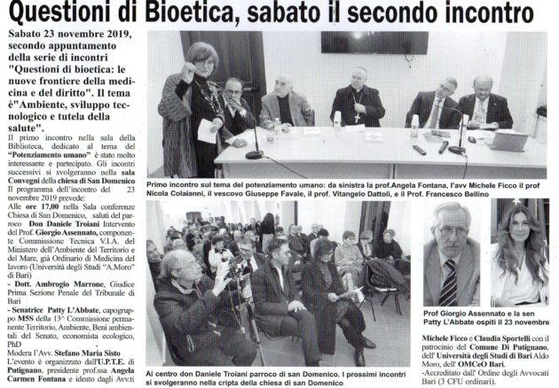 Bioetica su Il Giornale del 23 novembre 2019