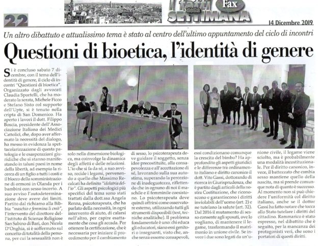 Bioetica 4 su Fax del 14 dicembre 2019