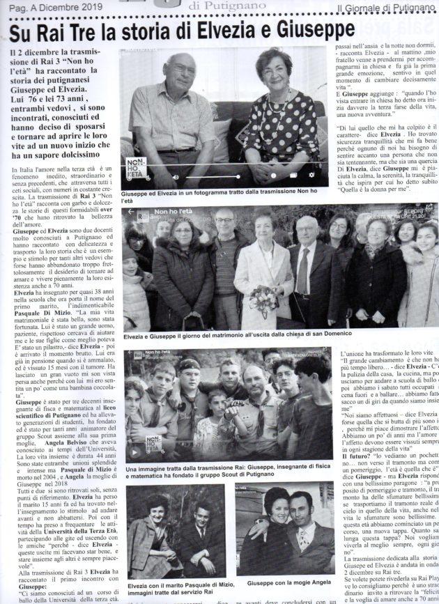 Peppino e Elvezia su Il Giornale del 7 dicembre 2019