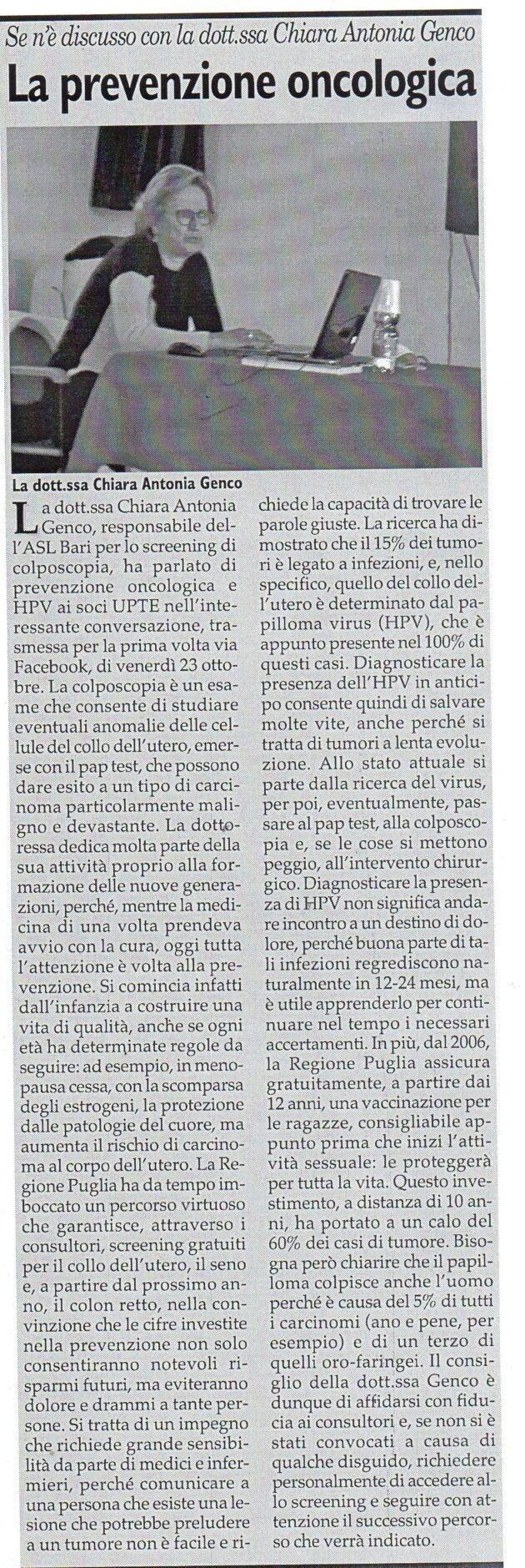 Dott.ssa Genco su Fax del 31 ottobre 2020