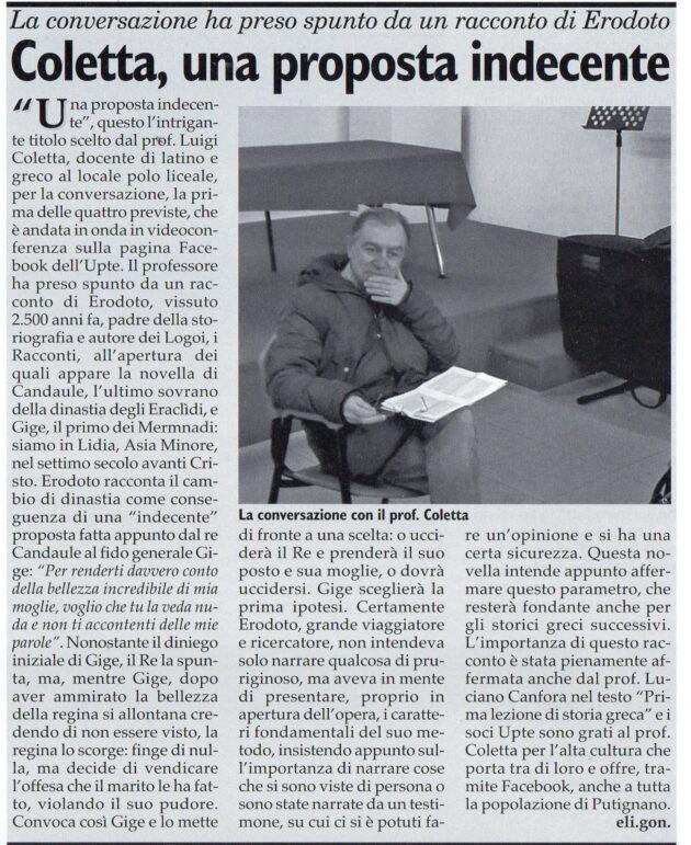 Prof. Coletta su Fax del 14 novembre 2020