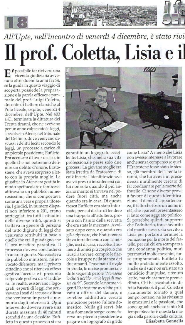 Prof. Coletta su Fax del 12 dicembre 2020