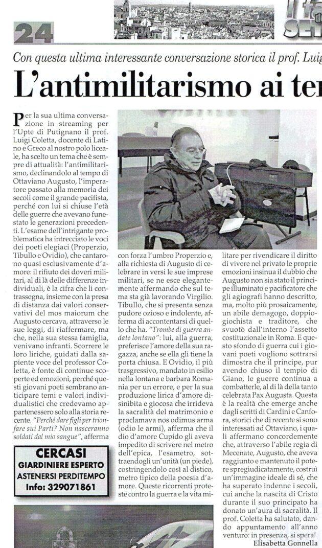 Prof. Coletta su Fax del 13 febbraio 2021
