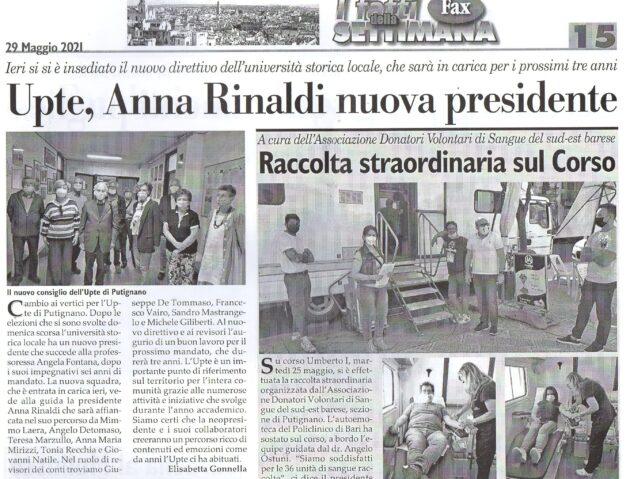 Anna Rinaldi Presidente UPTE su Fax del 29 maggio 2021