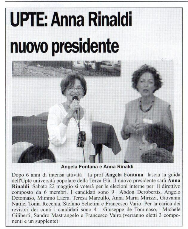 Nuova Presidente UPTE su Il Giornale di Putignano del 22 maggio 2021